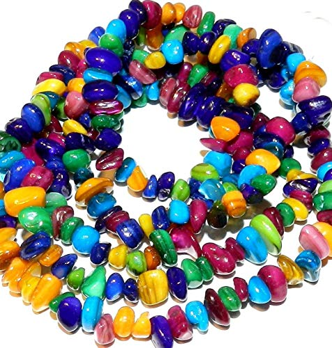 Assorted Color Small 7mm Nugget Chip Mother of Pearl Shell Beads 34#ID-4954