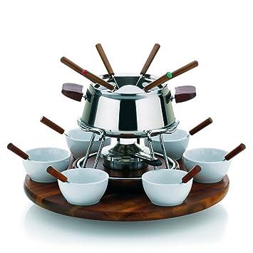 kela Armata - Juego de fondue, 23 piezas, incluye hornillo, acero, color plateado: Amazon.es: Hogar