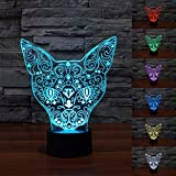 Hitommy 3D Cat Night Light 7 Color Change LED Art Desk Table Lamp For Toy Gift