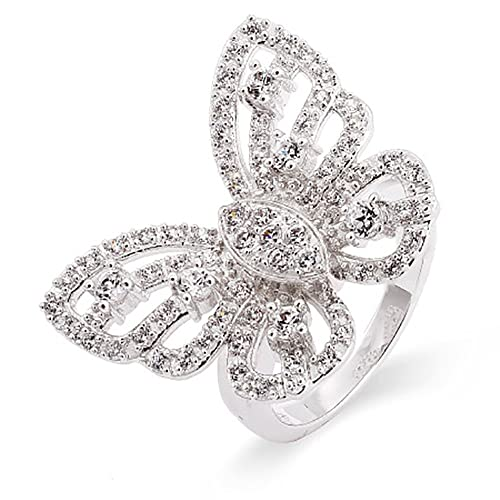 Eve s Addiction Sterling Silver CZ Butterfly Ring, Sizes 5 to 10