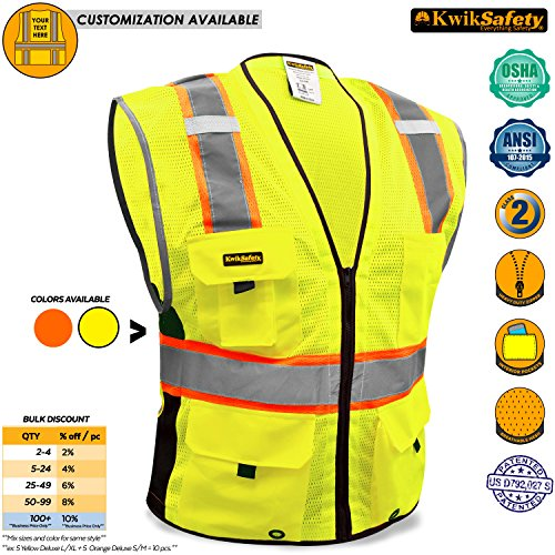 Hi Vis Zipper Vest (KwikSafety BIG KAHUNA | Class 2 Deluxe Safety Vest | 360° High Visibility Reflectivity ANSI Compliant Work Wear | Hi Vis 8 Pocket Breathable Mesh Men & Women Regular to Over Sized Fit | Yellow 2XL/3XL)
