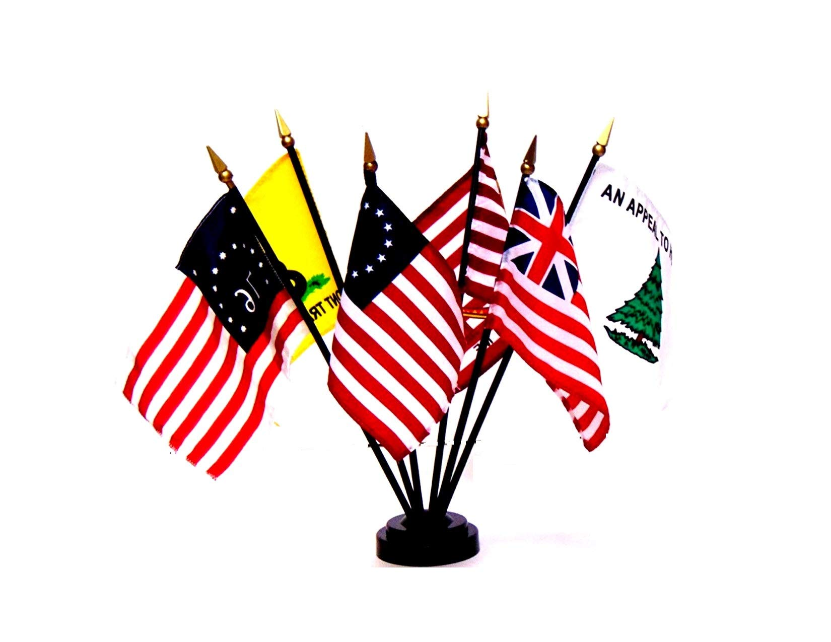 Made in The USA!! US Historical Flag Set - Set of 6 Rayon 4''x6'' Flags with a 6-Hole Base, 4x6 Miniature Historical Desk & Table Flags Set, Small Mini Stick Flags by World Flags Direct (Image #1)