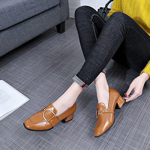 Dames Vierkante Teenpumps Loafers Klassieke Comfort Instapper Blok Hiel Casual Jurk Loafer Schoenen Beige