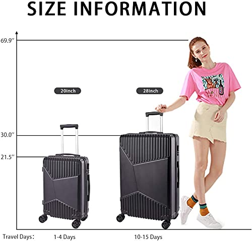 Newtour 2 Pieces Luggage Sets Suitcase with Spinner Wheels Rolling Luggage Set Lightweight luggage Travel 20in 28in Black
