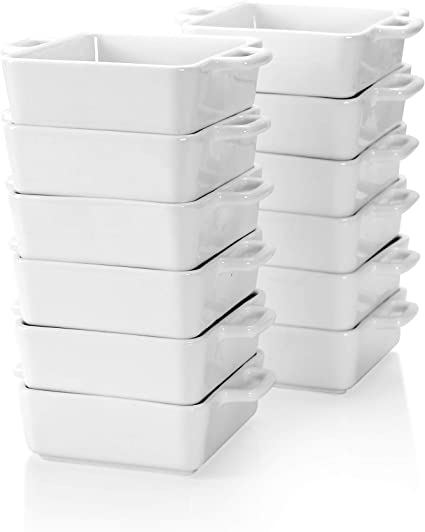 14.5 x 10.5 x 3.8cm 200ml Ramekins for Baking Lovecasa Porcelain Ramekins Round Creme Brulee Dish with Double Handle-Set of 12 White