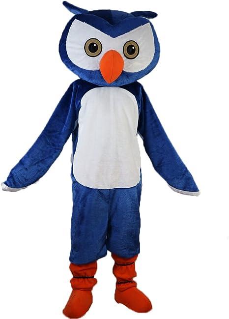Langteng Blue búho dibujos animados Mascot disfraz real imagen 15 ...