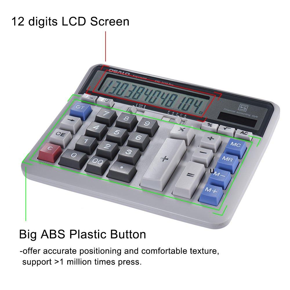 Aibecy grande computer contatore elettronico calcolatrice solare e batteria Power 12/DIGIT display multifunzione grande pulsante per ufficio Business scuola calcolo