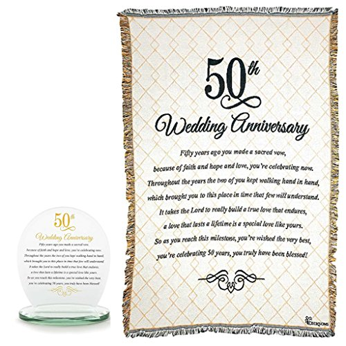 Mixed 50th Wedding Anniversary Bundle | Glass Table Topper and Cotton Tapestry Throw