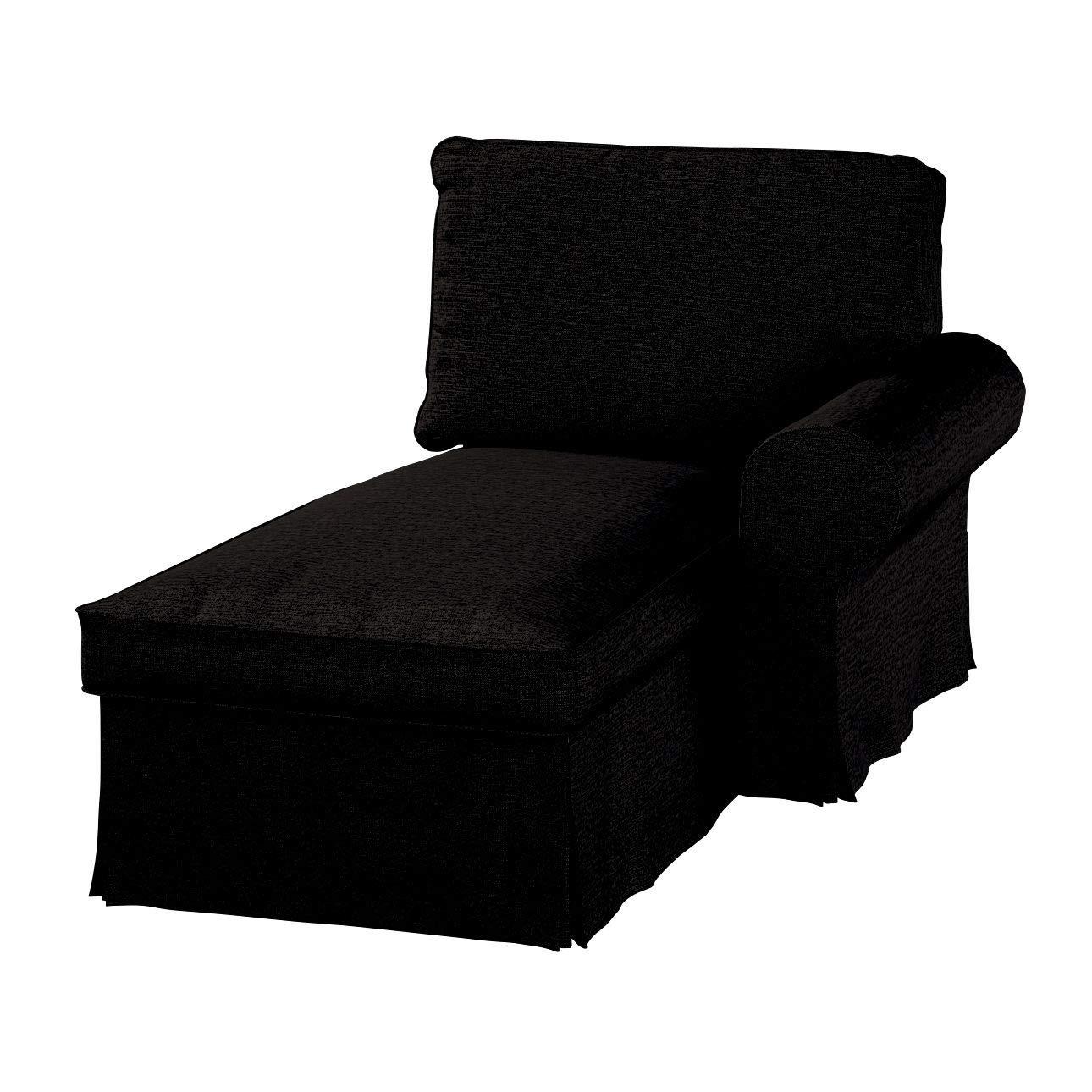 Dekoria Ektorp Bezug für Récamiere rechts Sofahusse passend für IKEA Modell Ektorp schwarz-braun