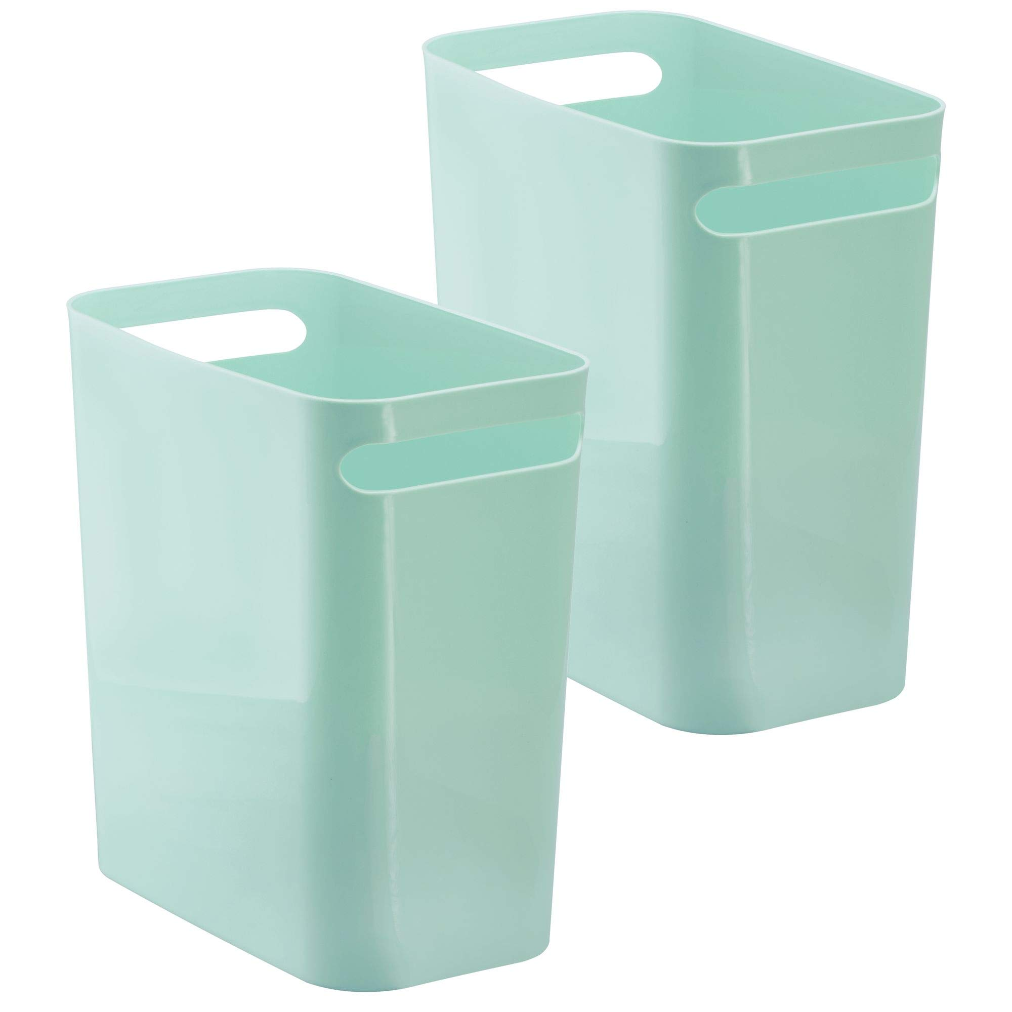 mDesign Slim Rectangular Small Trash Can Wastebasket, Garbage Container Bin with Handles for Bathrooms, Kitchens, Home Offices, Dorms, Kids Rooms � Pack of 2, 12 inch high, Plastic, Mint