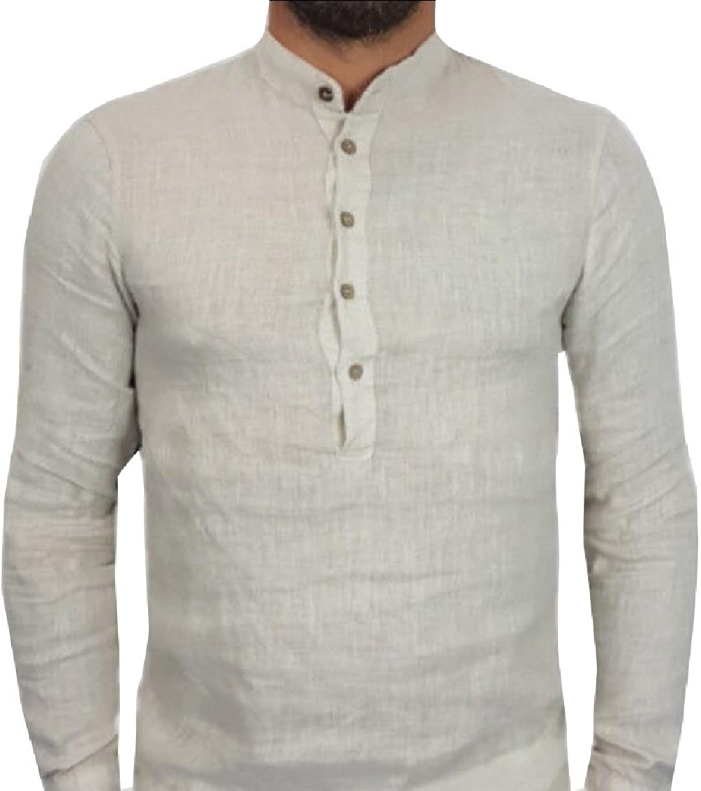 Gocgt Mens Casual Linen and Cotton V Neck Long Sleeve Button T-Shirts