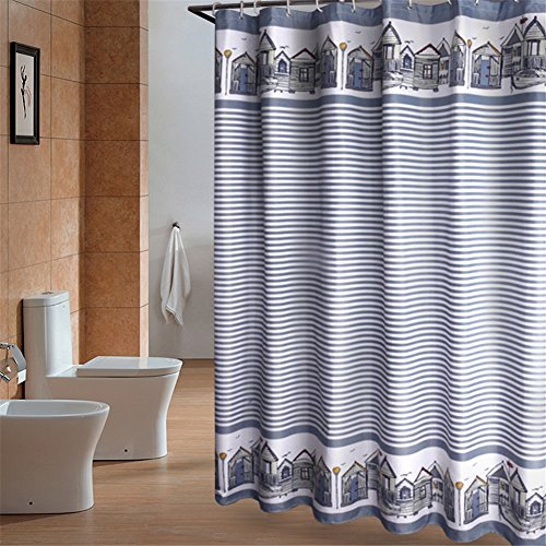Bed Inn Hampton (European Country Style Fabric Waterproof/Water-Repellent Shower Curtain Blue Grey 47 x 78 inch approx)