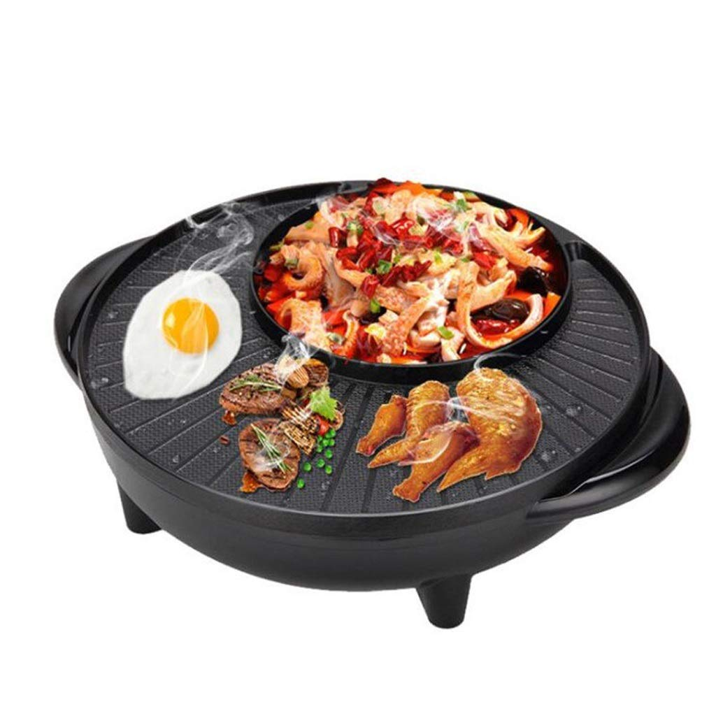 The Electric BBQ Grill and Hot Pot Smoke-Free Electric Baking Pan Large Easy Cleanup Cooking 2000W L&Y