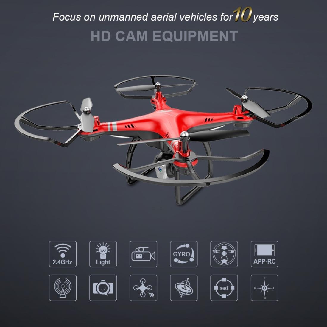 GJKK x8 2.4G RC Quadcopter Quadcopter Quadcopter Strom Anpassung 0.3MP HD Kamera RC Drone FPV Ferngesteuerte Flugzeuge Mini Drone Quadcopter Drone Fliegendes Spielzeug Tragbare Drohne Draussen Drohne-Schwarz/Rot (Rot) 0a6fed