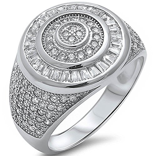 Men's Heavy 3ct Baguette & Pave Cubic Zirconia High End Fashion .925 Sterling Silver Ring Size 9