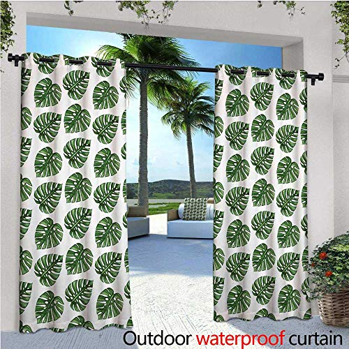 Green Leaf Outdoor Privacy Curtain for Pergola Tropical Jungle Leaves Palm Trees of Hawaii Watercolor Style Summer Nature Thermal Insulated Water Repellent Drape for Balcony W108