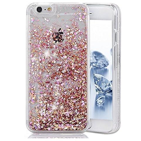 iPhone 5C Case,iPhone 5C Cover,iPhone 5C Bling Case,PHEZEN 3D Creative Design Shiny Quicksand Moving Bling Glitter Sparkle Love Heart Flowing Clear Hard Case for iPhone 5C - Pink (3d Bling Cases For Iphone 5c)