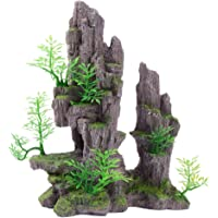 Uotyle Aquarium Mountain View Stone Ornament Tree Rock Cave Fish Tank Decoration