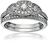 14k White Gold Diamond Halo Frame Bridal Set Ring (1/2cttw, H-I Color, I1-I2 Clarity), Size 7