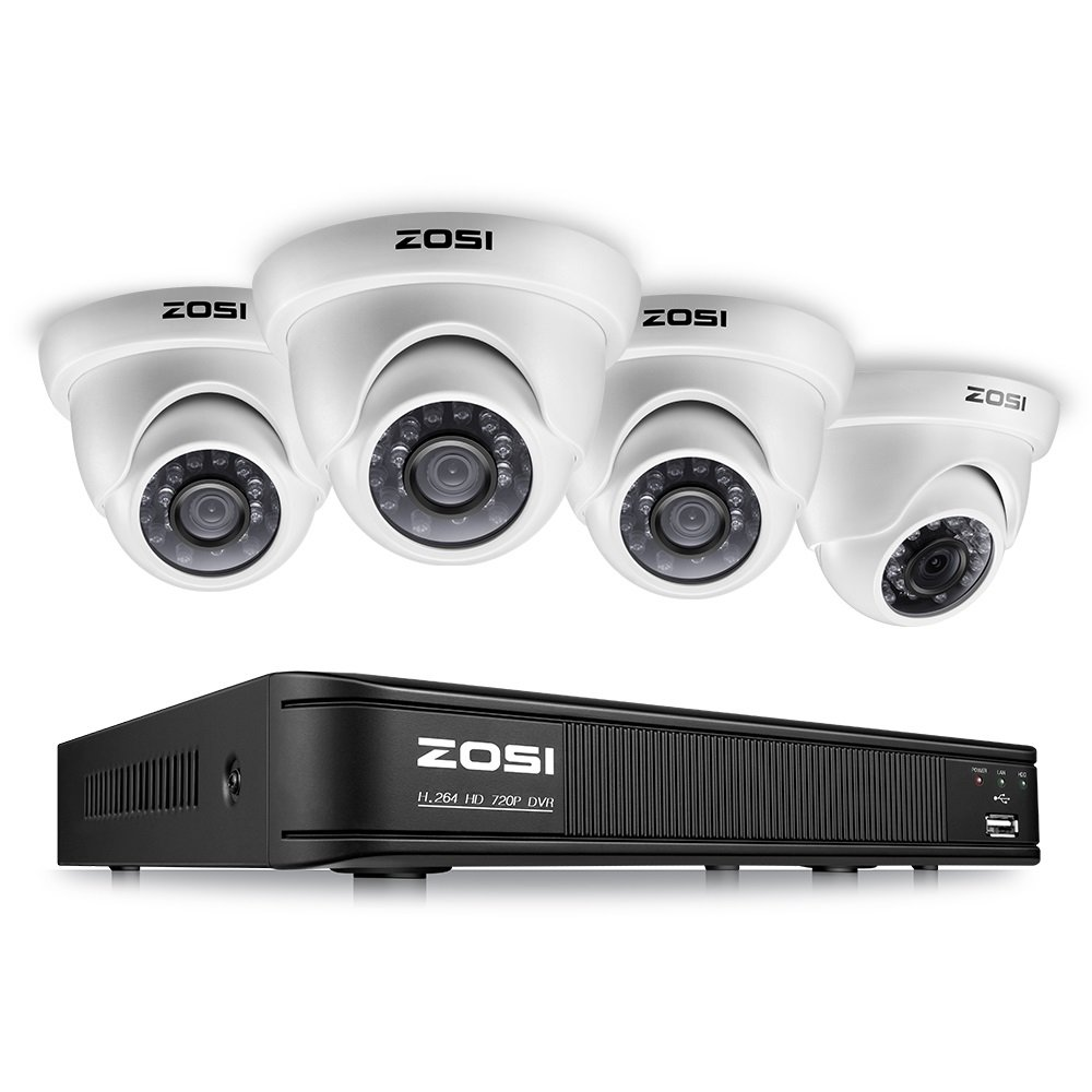 ZOSI 8-Channel HD-TVI 720P Video Security Camera System,1080N Surveillance DVR Recorder and (4) 1.0MP 720P(1280TVL) Weatherproof Outdoor/Indoor Dome CCTV Camera with Night Vision(No Hard Drive) by ZOSI