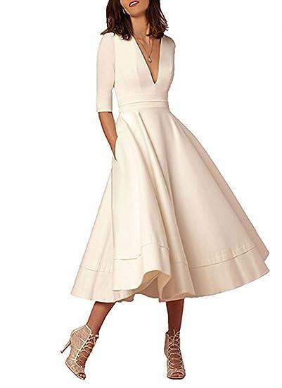 Vepycly Vintage Long Sleeve Short Wedding Dresses Ivory Wedding