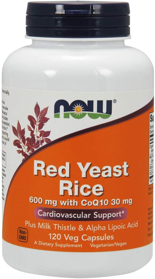 NOW Supplements, Red Yeast Rice with CoQ10, plus Milk Thistle & Alpha Lipoic Acid, 120 Veg Capsules: Health & Personal Care