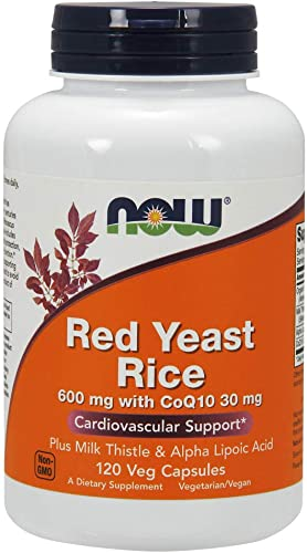 NOW Supplements, Red Yeast Rice with CoQ10, plus Milk Thistle Alpha Lipoic Acid, 120 Veg Capsules