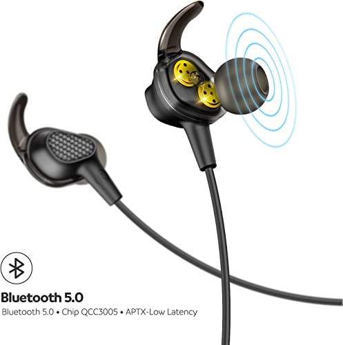 SOUNDPEATS Bluetooth Headphones with Dual Dynamic Drivers, Neckband Wireless Earbuds with Dual Crossovers, Secure Fit Sports Headset Bluetooth 5.0, APTX Codec CVC 6.0 in-Ear Earphones