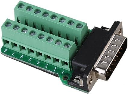 DB15 D-SUB 2 Row 15 Pin Plug Breakout Terminals Board Connecto TPI