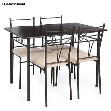 Ikayaa 5pcs Ensembles Pour Salle A Manger En Metal Moderne Cuisine Table Chaises Definie Pour Meubles De Cuisine 4 Personne 120kg Capacite De