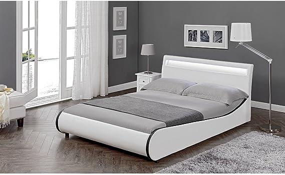 Corium Cama Elegante tapizada en Piel sintética - con Sistema de iluminación LED - 140x200cm (Blanco)