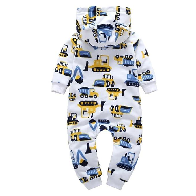 Honestyi ropa de bebé, Infant Baby Boys Girls Más grueso Excavadora con capucha mameluco Jumpsuit