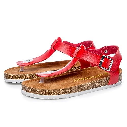 BIGTREE Estivi Sandali Donna Infradito Ciabatte Fibbia Pantofole T-Strap Eleganti  Scarpe Pigre con Suola 9a6ffd8cb3c