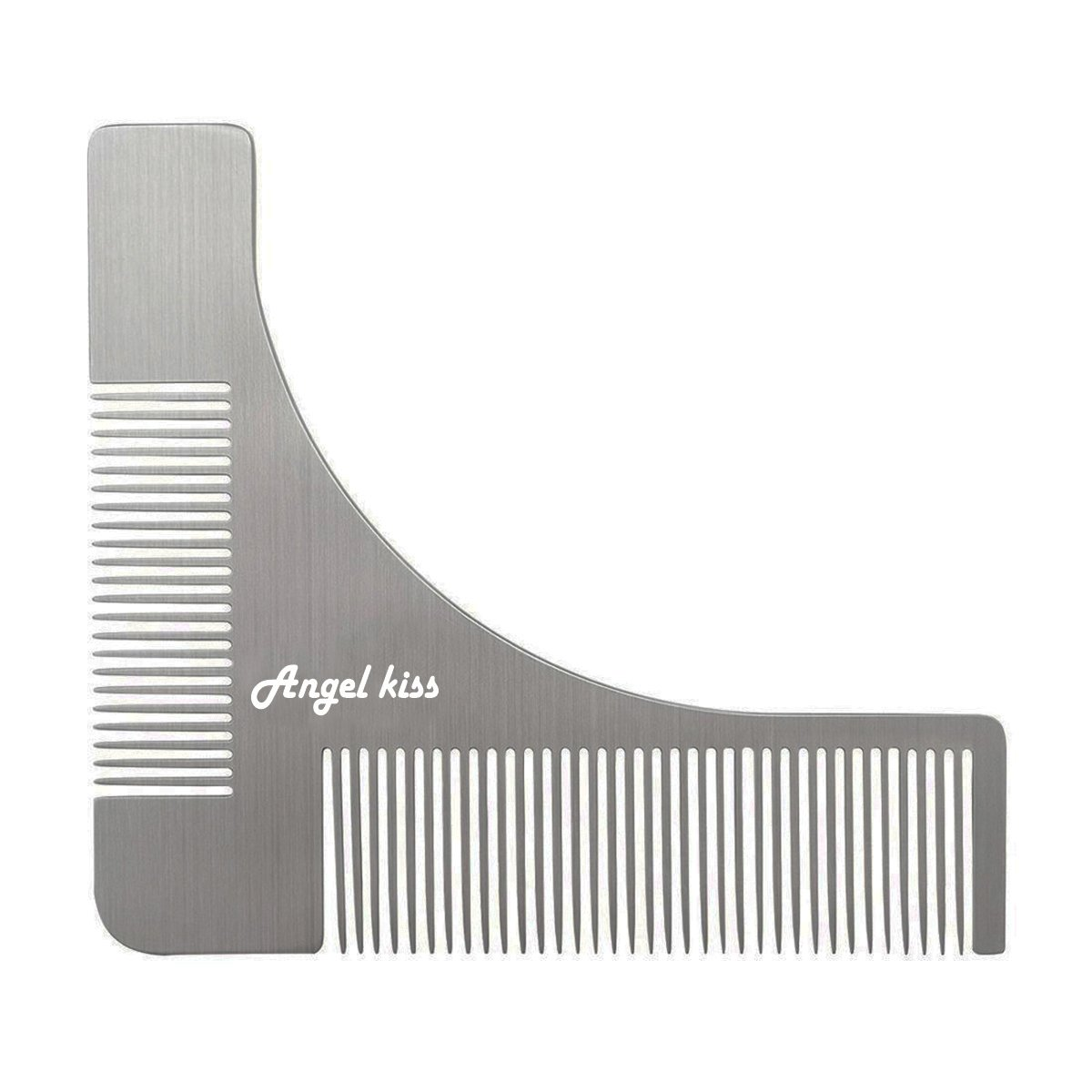 Beard Shaper Template Tool for Facial Hair Shaping - Angel Kiss Stainless Steel Beard Styling Comb for Perfect Lines Symmetric Mustache Grooming Style