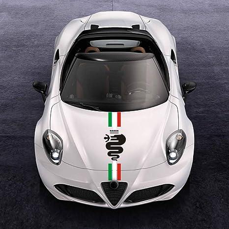 Auto Motorhaube Racing Stripes Grafik Aufkleber Abziehbilder Dekoration Für Alfa Romeo Mito 147 156 159 166 Giulietta Giulia Stelvio Spider Gt C4 8c Emblem C Auto