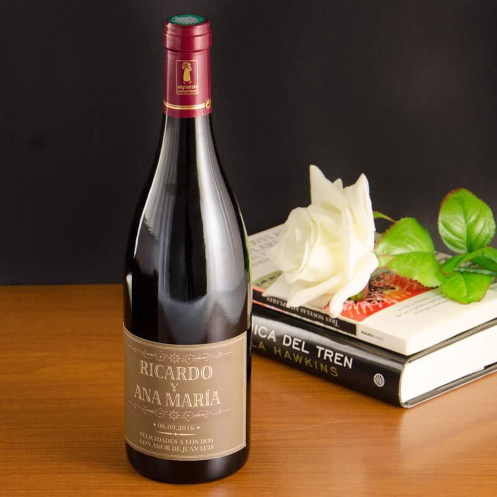 Calledelregalo Regalo para Parejas Personalizable: Botella de Vino Personalizada con Nombres, Fecha y dedicatoria