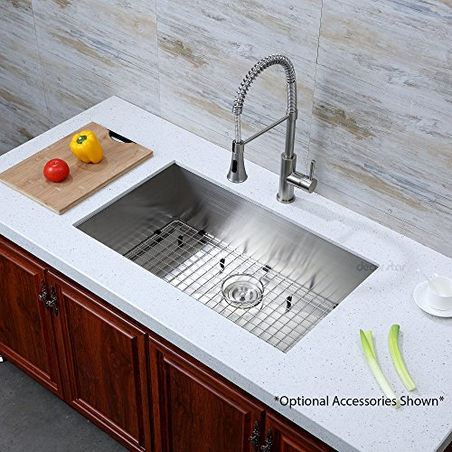 Decor Star H-001-Z 32 Inch x 19 Inch Undermount Single Bowl 16 Gauge Stainless Steel Luxury Handmade Kitchen Sink cUPC Zero Radius by Decor Star (Image #2)