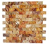 Scabos Travertine 1 X 2 Split-Faced Brick Mosaic Tile - Box of 5 Sq. Ft.