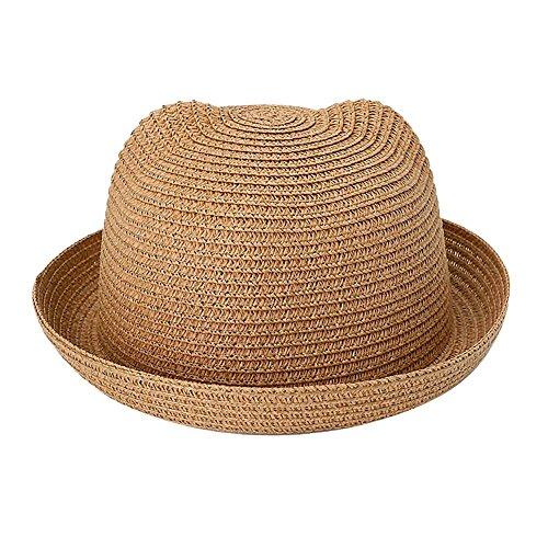 Kids Anti-UV Straw Sun Hat Cat Ear Summer Cap for Girl Boys Bucket Hat (Khaki) -