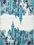 Unique Loom Metro Collection Modern Skyline Abstract City Turquoise Area Rug (9′ x 12′)