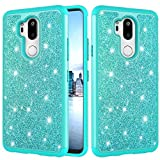 LG G7/G7 ThinQ Glitter Case and Screen Protector,QFFUN Bling Shiny Skin Soft Silicone Inner + Hard Plastic Back Hybrid Double Layer 2 in 1 Shell Shockproof Anti-scratch Mobile Phone Protective Cover for LG G7/G7 ThinQ Case - Green