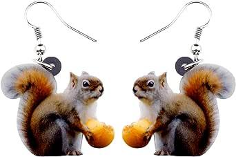 NEWEI Acrylic Cartoon Gold Squirrel Earrings Dangle Drop For Women Kids Animal Ornaments Jewelry Gift Charm