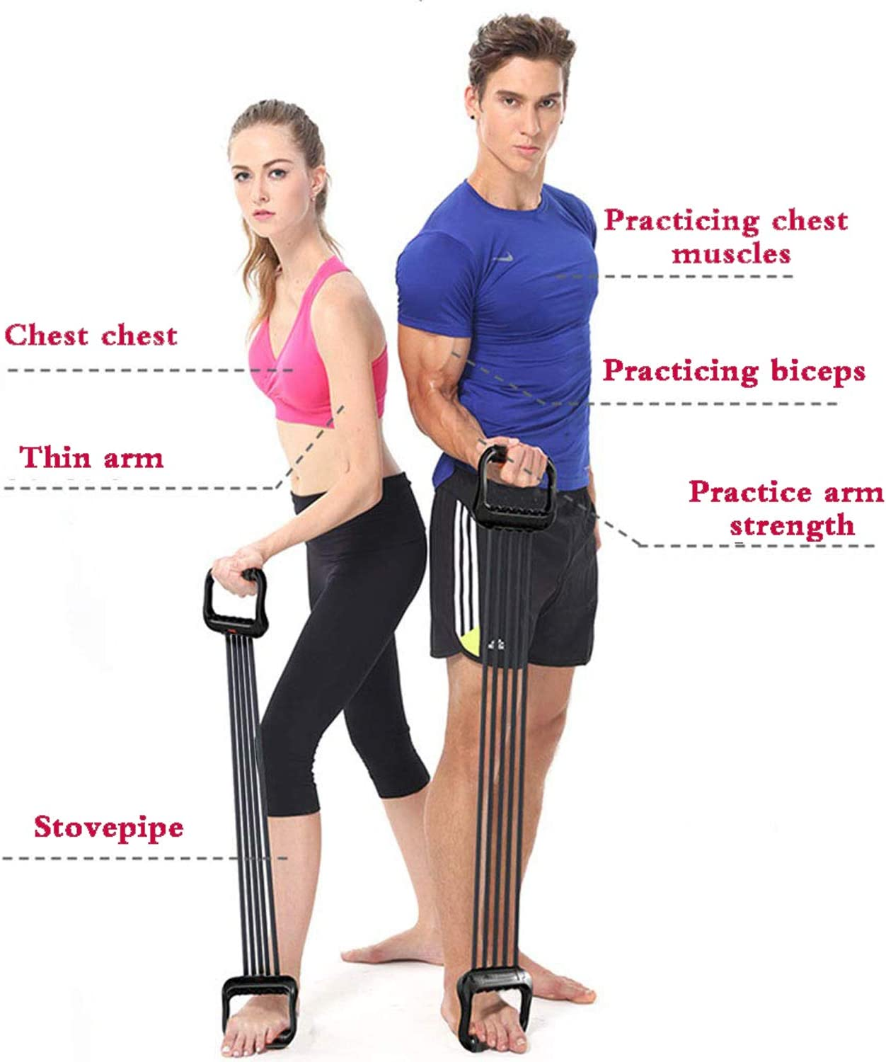 Chest Expanders Resistance Bands 5 Detachable Emulsion Fitness Tubes Adjustable Pull for Home Gym Muscle Training Exerciser 5x15 lbs Black