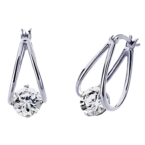 Sterling Silver Cubic Zirconia Invisible Setting Womens Drop Earrings-Other Colors