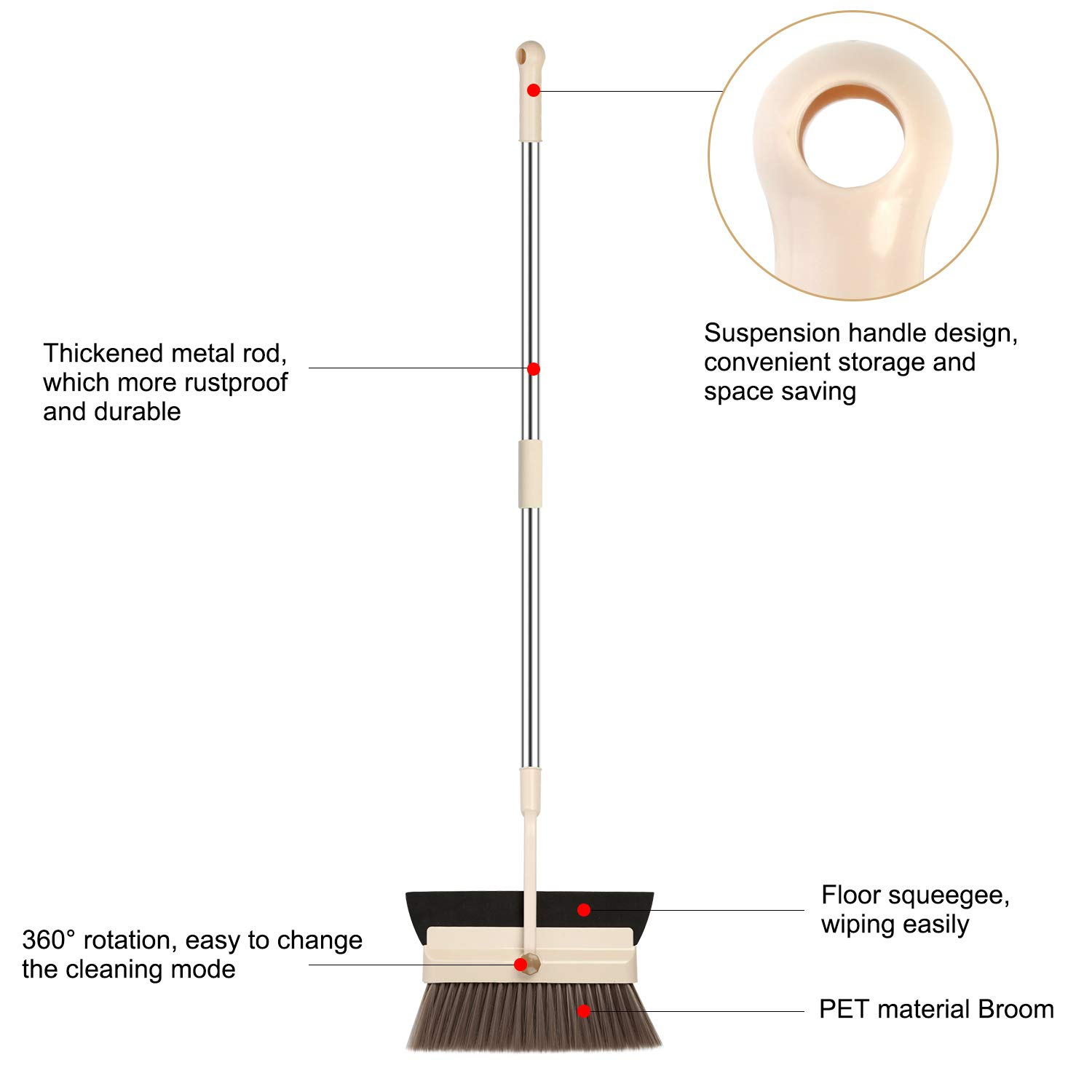 MOCREO Dustpan and Broom and Floor Squeegee Set, Dustpan Cleans Broom Combo with Long Handle For Home Kitchen Room/Office/Lobby Floor, Use Upright Stand Up Dustpan Broom & Squeegee Set by MOCREO (Image #6)