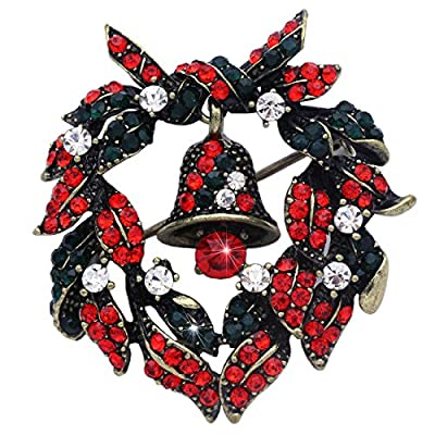 Cheap Vintage Style Christmas Wreath Reef Ribbon Dangling Bell Brooch Pin Jewelry free shipping