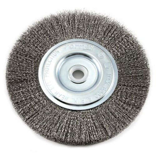 Forney 72747 Wire Bench Wheel Brush, Fine Crimped with 1/2-Inch and 5/8-Inch Arbor, 6-Inch-by-.008-Inch, 4 Pack by Forney