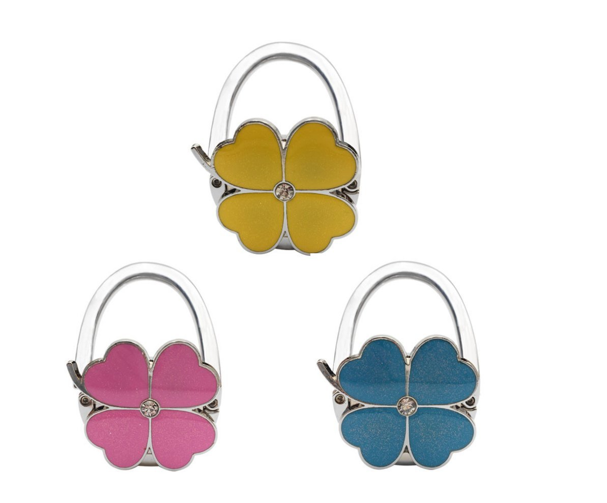 3Pc Four Leaf Clover Design Foldable Handbag Hanger Folding Purse Table Hook Holder