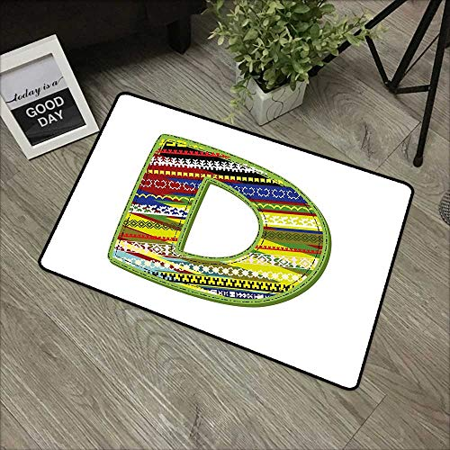 - Interior Door mat W16 x L24 INCH Letter D,Letter of Ornament D from Alphabet Winter Color Scheme Designs Old School Retro,Multicolor Easy to Clean, Easy to fold,Non-Slip Door Mat Carpet