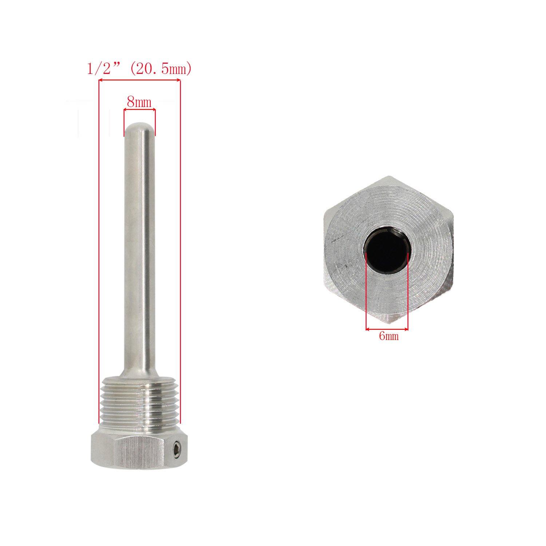 f/ür Thermoelement hausbrauerei edelstahl tauchh/ülse edelstahl 304 mit Feststellschraube Eintauchen von 30 50 100 200 300 400 500mm 1//2 Zoll 30mm
